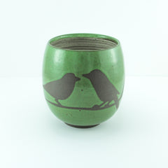 14oz Mug with Handle, Two Birds on Branch, Grass Green