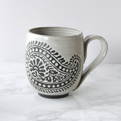 14oz Mug with Handle, Paisley, Antique White