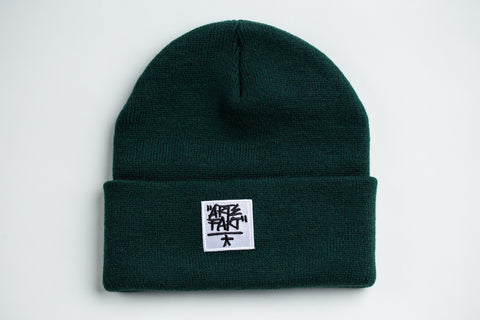 Lime Green Beanie (White Patch)