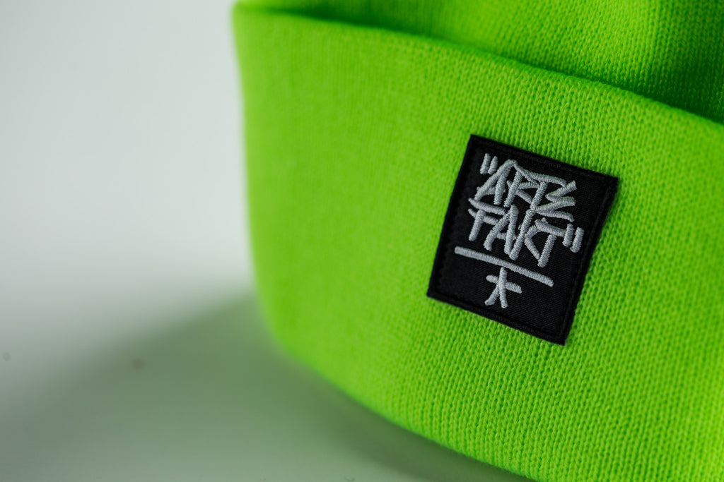 Lime Green Beanie (Black Patch)