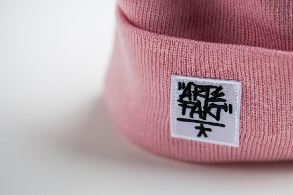 Pink Beanie (White Patch)