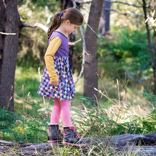 roastedfox-colourful-childrens-kids-boys-girls-clothes-clothing-Fairy Wren L/S Dress-Tops-roastedfox
