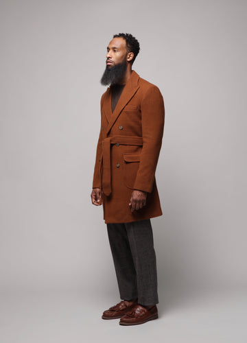 Double Breasted Slim Fit Overcoat (pecan)
