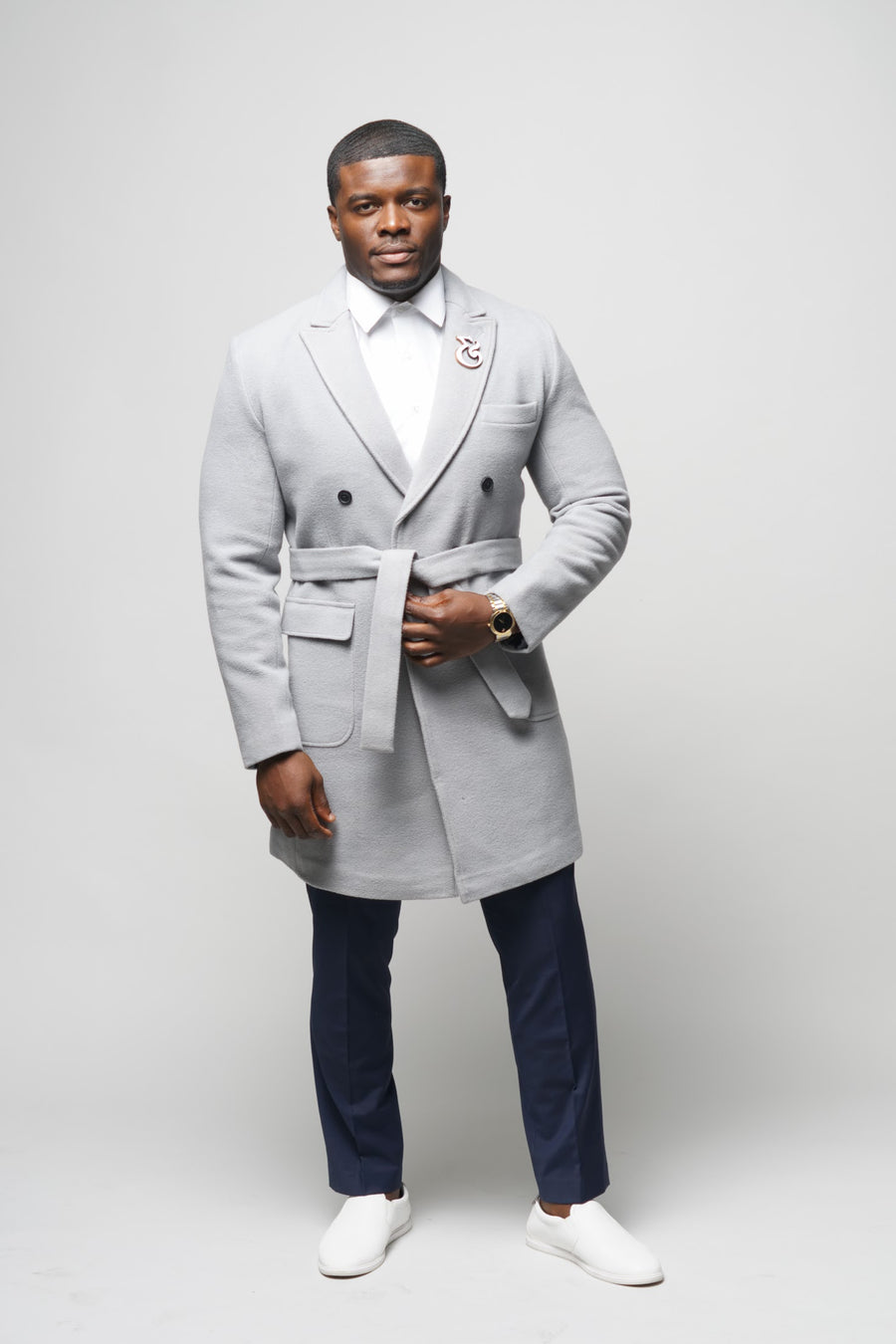 Double Breasted Slim Fit Overcoat (fog)