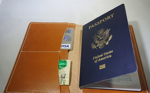 'The Voyager' Leather Passport Case (maple)