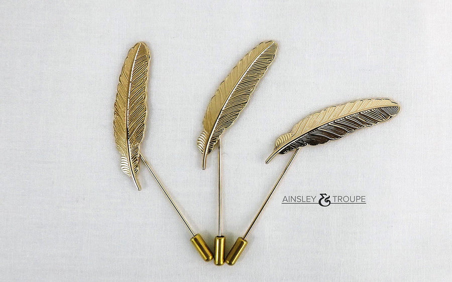 Golden Feather Lapel Pin