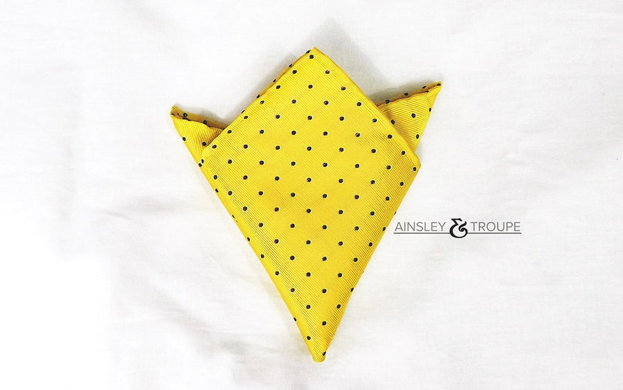 The Explorer (yellow & navy polka dot)