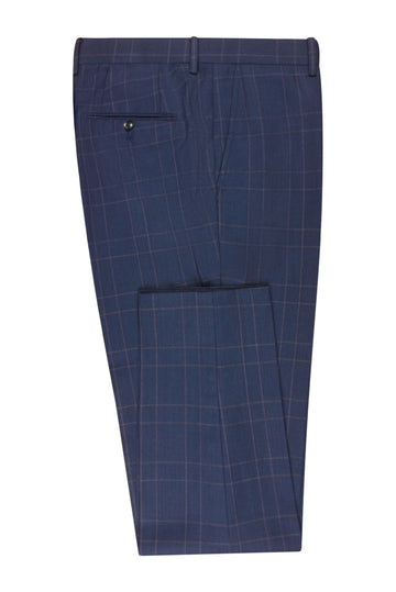 Dark Blue Check Slim Fit Suit Pant