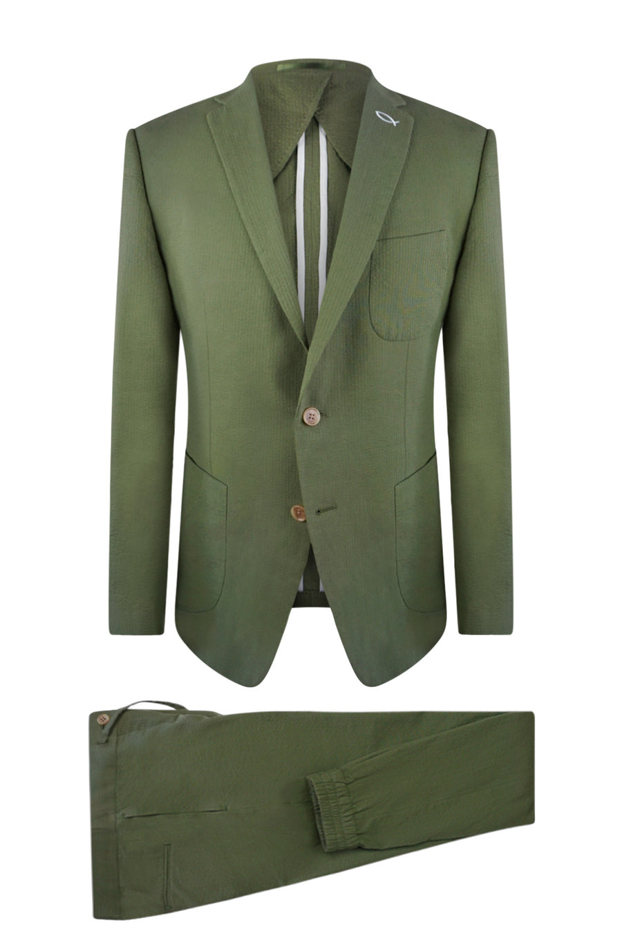 Caiman Green Seersucker Suit Jacket