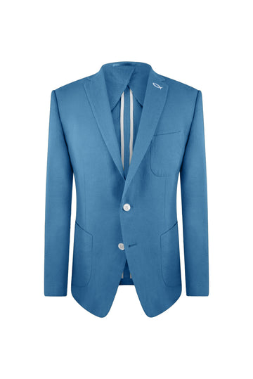 Ocean Blue Seersucker Suit Jacket