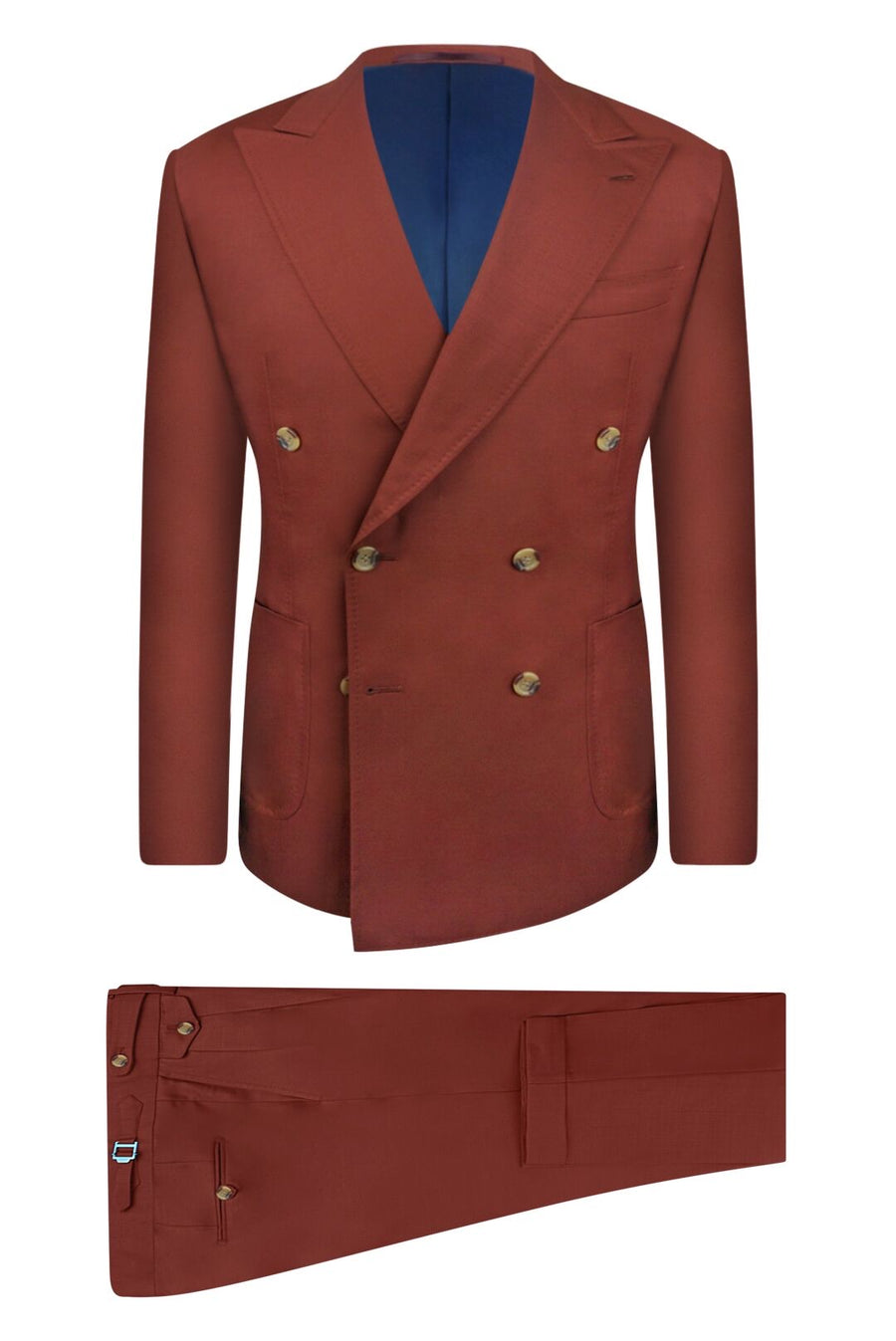 Burnt Sienna Double Breasted Suit Jacket