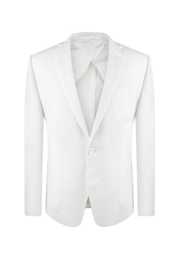 Cloud White Seersucker Suit Jacket