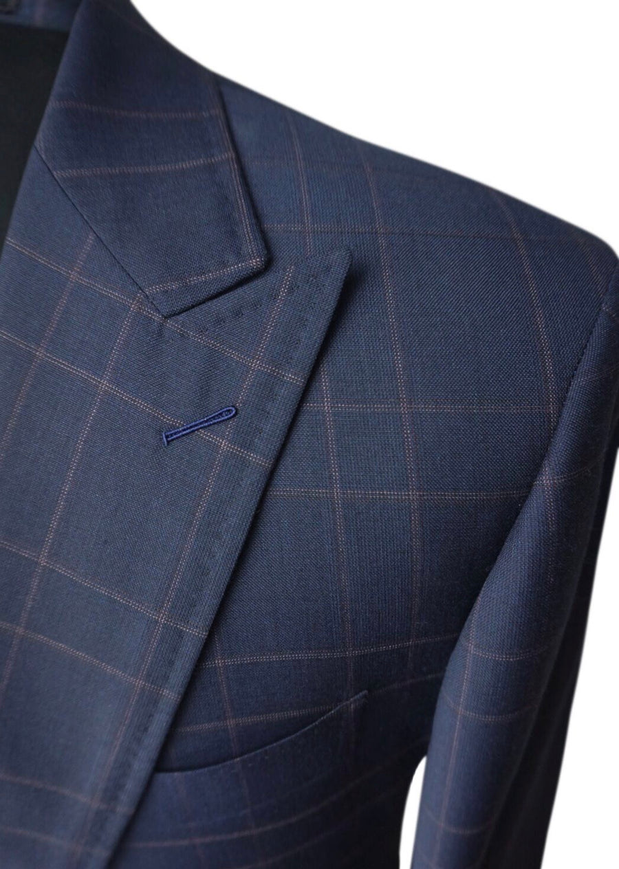 Dark Blue Check Slim Fit Suit Jacket