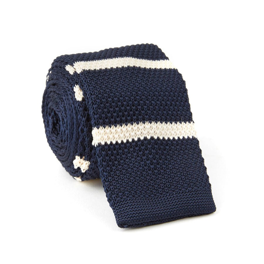 Knit Tie (navy & white stripes)