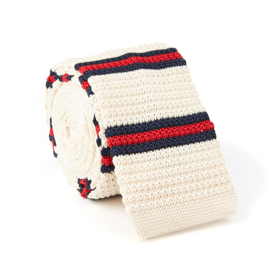 Knit Tie (off-white/navy & red stripes)