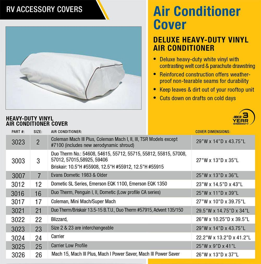 Adco Rv Carrier Air Conditioner Cover Mpn 3024