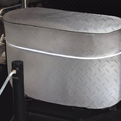 ADCO Diamond Plate Propane Cover Closed