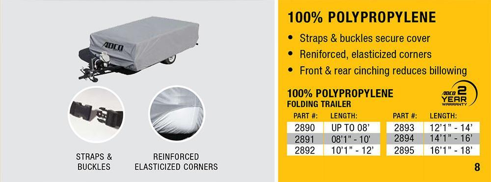All Weather ADCO PopUp RV Trailer Cover Features