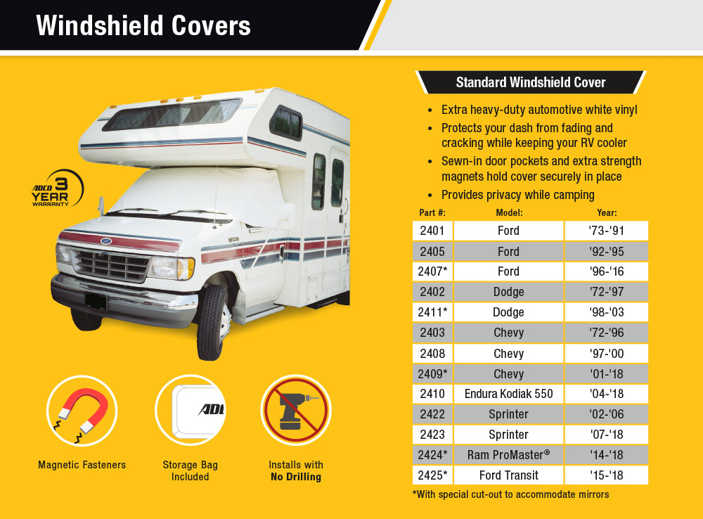 Class C Chevy/GMC RV Windshield Cover Features