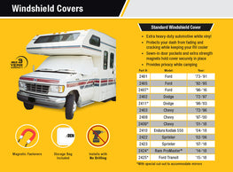 Class C Dodge RV Windshield Cover Features