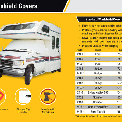 Class C GMC RV Windshield Cover Features