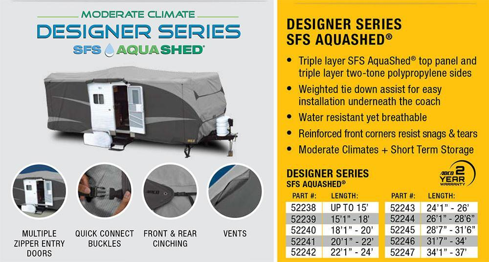 Designer Series SFS Aqua Shed Travel Trailer RV Cover Features