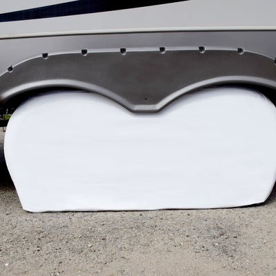 White Vinyl Double Axle Tyre Gards