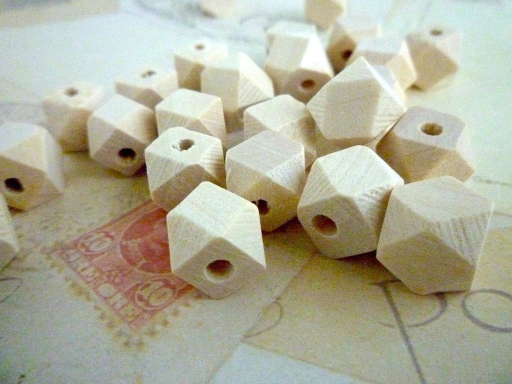 10mm Natural Geometric Wooden Beads