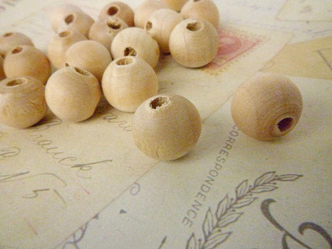 12mm Natural Round Wooden Beads