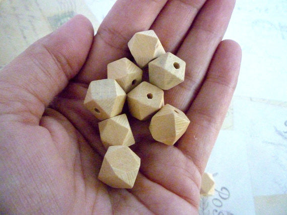 12mm Geometric Natural Wooden Beads