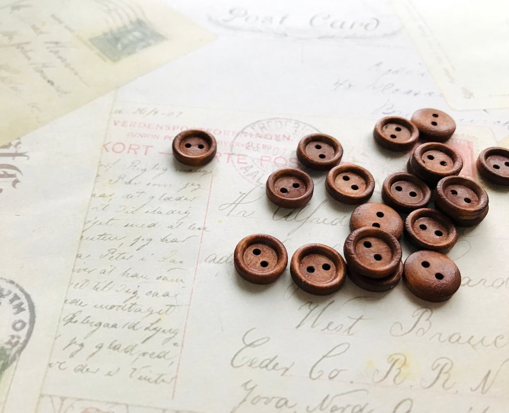 13mm Dark Coffee Coloured Wooden Buttons - Two holes