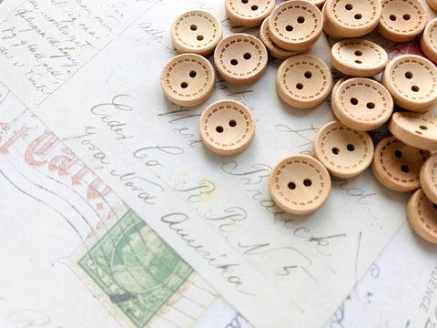 13mm Wooden Buttons with Stitch Pattern - Two holes