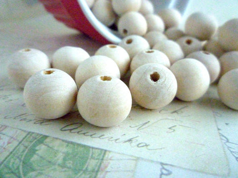 14mm Natural Round Wood Beads