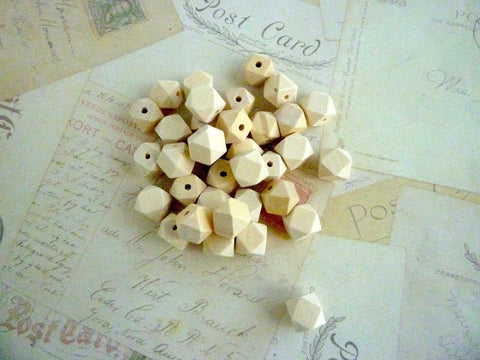 14mm Geometric Natural Wooden Beads