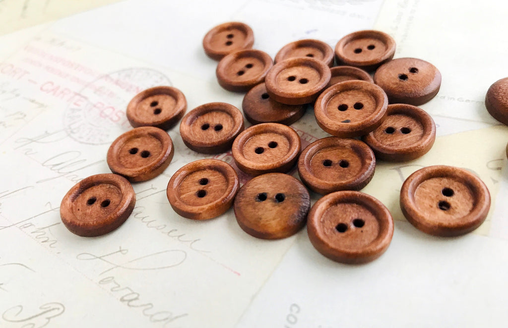 Half Inch DARK Coffee Coloured Wooden Buttons - Two holes (15mm)