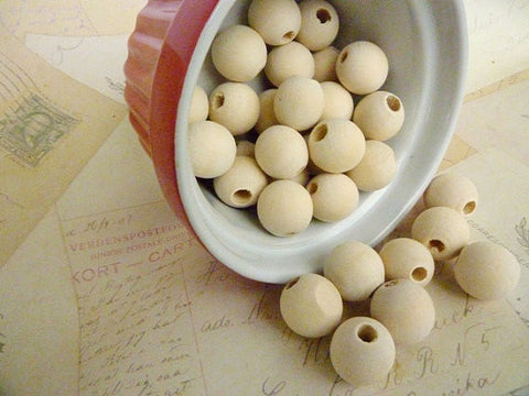 16mm Natural Round Wood Beads