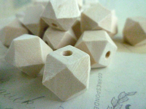 16mm Geometric Natural Wooden Beads