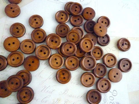 18mm Dark Coffee Coloured Wooden Buttons - Two holes