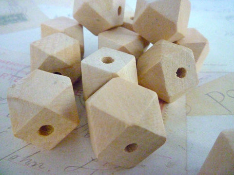 20mm Geometric Natural Wooden Beads