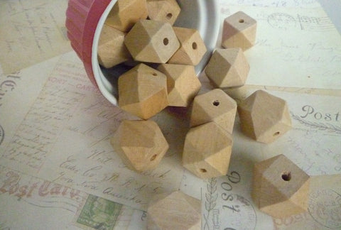 REDUCED PRICE SECONDS - 25mm Geometric Natural Wooden Beads - Pack of 10
