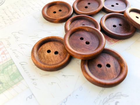 Large Wooden Dark Coffee Coloured Buttons - Two holes (30mm)
