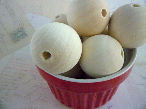 35mm Natural Large Round Wooden Beads