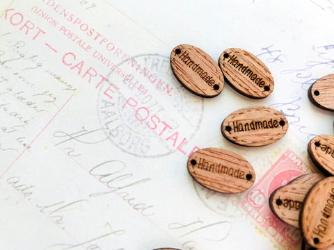 Oval Wooden Tags 'Handmade' - 18mm x 11mm - with 2 Holes