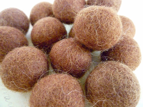 Chocolate Brown - Felt Balls - 2cm