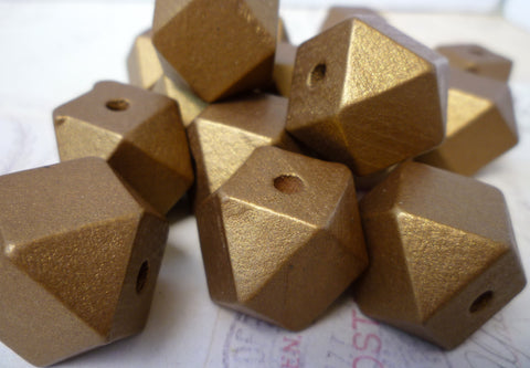 20mm Geometric GOLD Wooden Beads