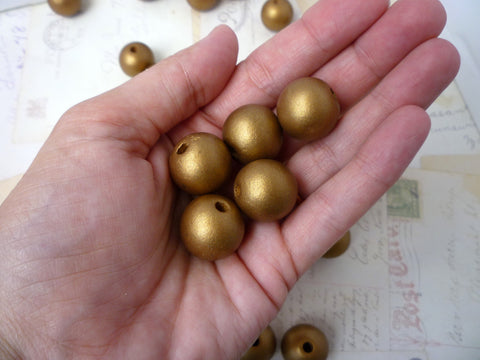 20mm Round Wooden GOLD Beads