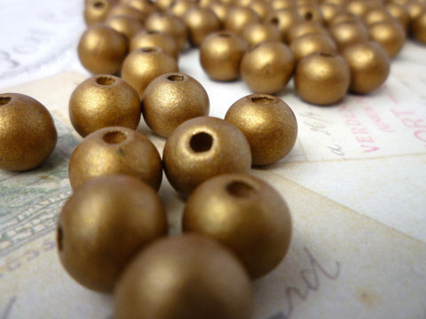 10mm Round Wooden GOLD Beads