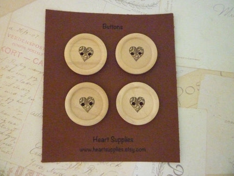 Stamped Buttons Fancy Heart Collection - 30mm