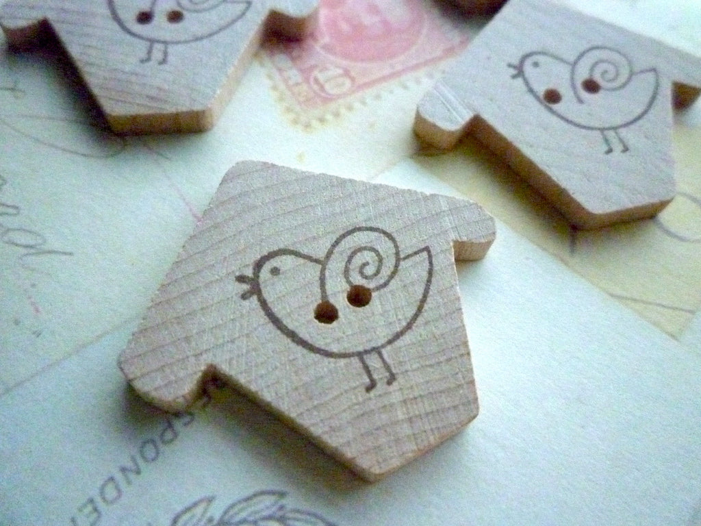 Wooden Birdhouse Buttons - Birdhouse Stamped Collection - Simple Bird