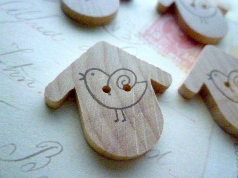 Wooden Round Birdhouse Buttons - Birdhouse Stamped Collection - Simple Bird